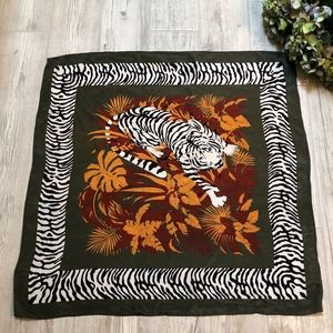 Vintage 100% Silk Scarf Tiger in the Jungle
